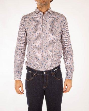 uomo-camicia-stampata-fiori-marrone-West-Coast