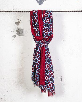 Sciarpa-disegno-optical-rosso-CAMERUCCI